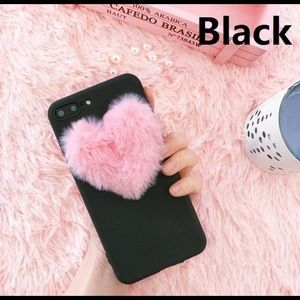 2/$20 Black and Pink Plush Heart iPhone Case